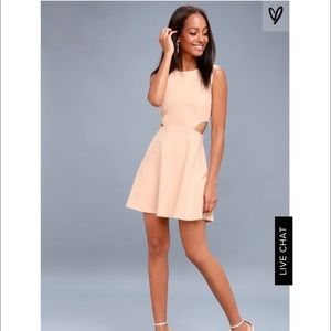 Toast to you Blush Cutout skater dress